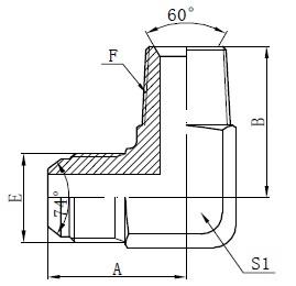 BSPT moški adapter priključki risanje