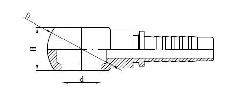 Metrična risba cevne spojke Banjo